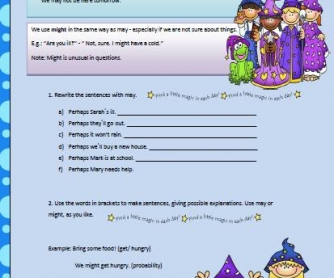 May and Might Worksheet