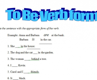 To Be Verb Form