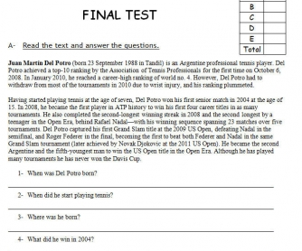 Sports: Final Reading-Based Test
