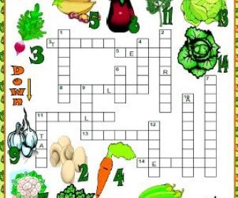 Vegetables: Picture Crossword