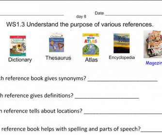 Reference Materials Worksheet