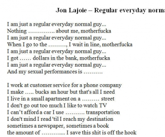 Song Worksheet: Everyday Regular Normal Guy by Jon Lajoie