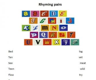 Rhyming Pairs Worksheet