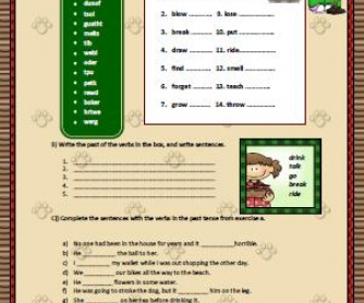 Simple Past Irregular Verbs Elementary worksheet