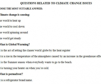 Climate Change: Multiple Choice Worksheet