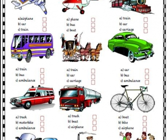 Means of Transport Multiple Choice Activity