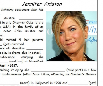 Jennifer Aniston [Biography Worksheet]