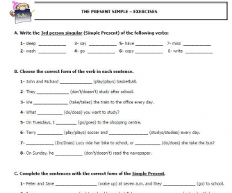 Worksheet on the Present Simple