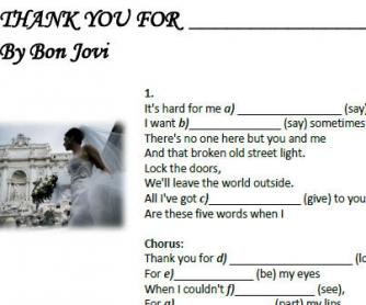 Song Worksheet: Thank You For Loving Me by Bon Jovi