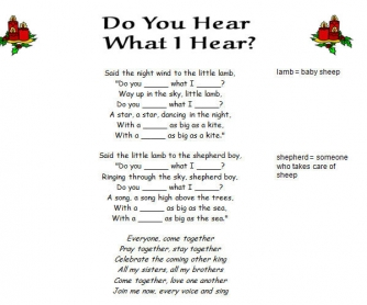 Song Worksheet: Do You Hear What I Hear by Destiny's Child