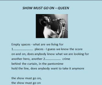 Song Worksheet: Show Must Go On by The Queen