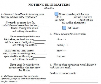 Song Worksheet: Nothing Else Matters by Metallica