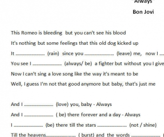 Song Worksheet: Always by Bon Jovi