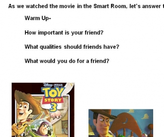 Cartoon Worksheet: Toy Story 3