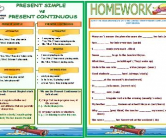 Present Simple vs Present Progressive Worksheet II