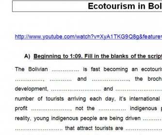 Ecotourism in Bolivia [WITH ANSWERS]
