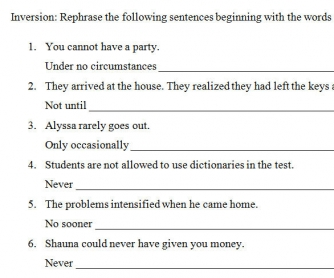 Inversion Practice Worksheet