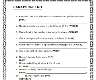 Paraphrasing: Clauses Worksheet
