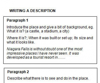 Description of a place essay