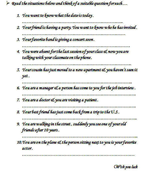 WH Questions – Wh Questions Worksheet