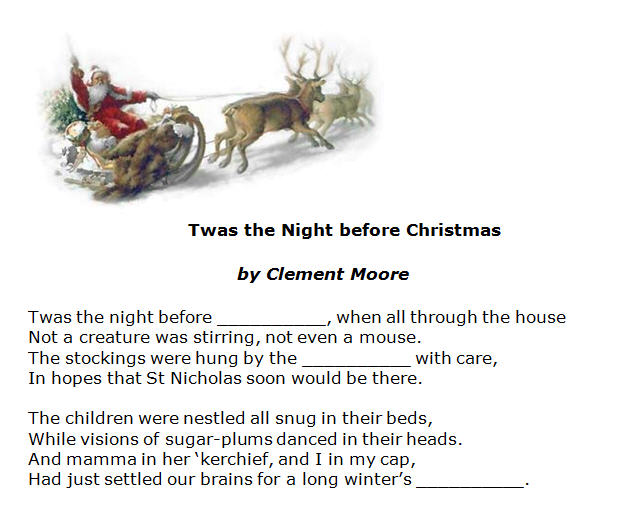 the Night before Christmas by Clement Moore [poem worksheet with ...
