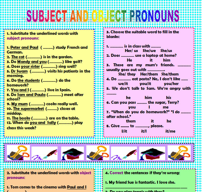 Object Pronouns – Subject Pronoun Worksheets