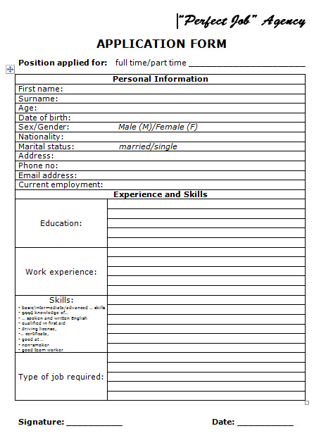 basic application forms Application Form and Basic Job Interview Questions