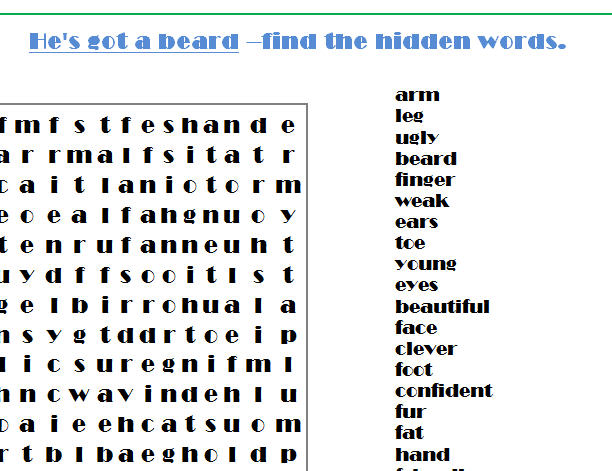 Two tasks - wordsearch (students' task is to find the hidden words ...