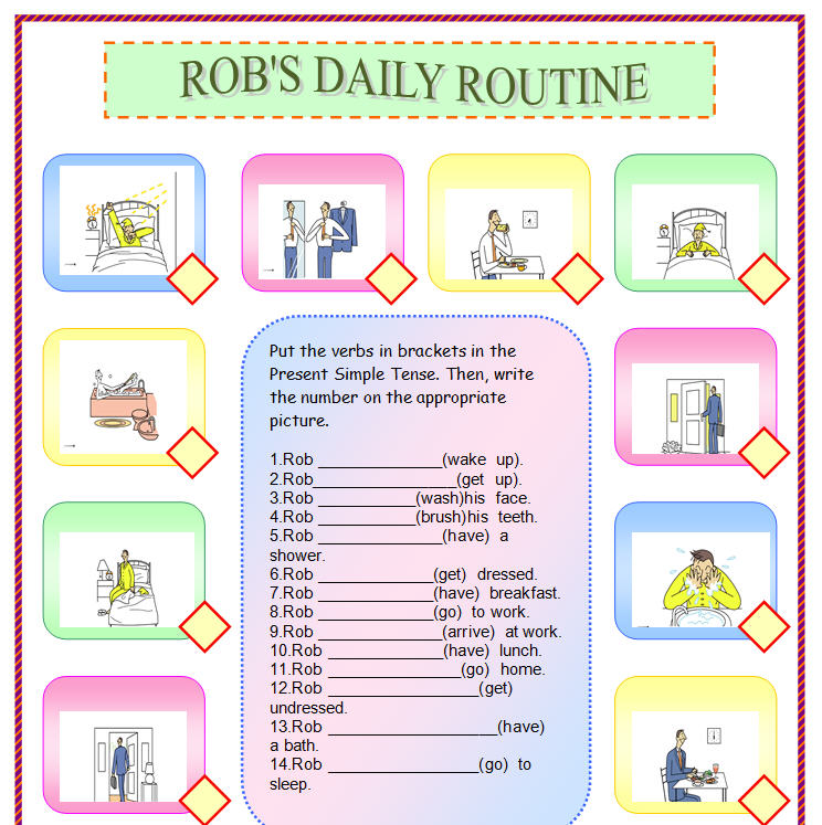 Daily routine essay in simple present tense