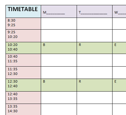 Blank timetable template for Blank revision timetable template