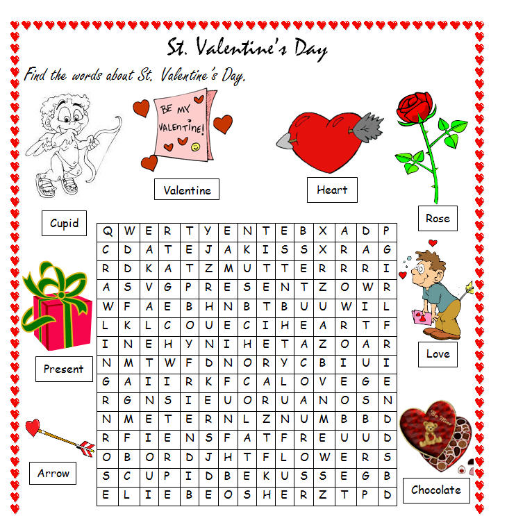 st valentine 39 s day wordsearch. Black Bedroom Furniture Sets. Home Design Ideas