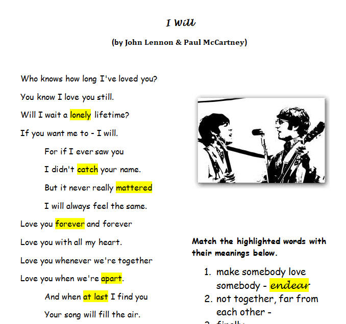 Worksheet I Will by the Beatles – Will Worksheet