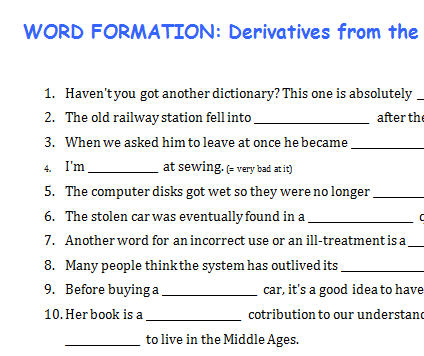 word formation derivatives from the root word use