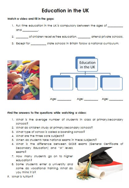 Education In The Uk Video Worksheet