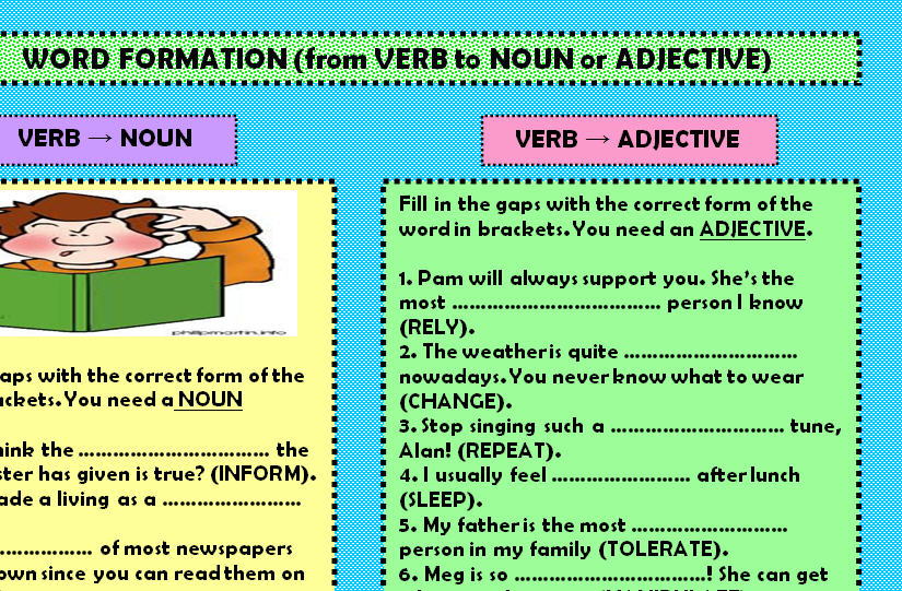 Formation from Verb to Noun or Adjective – Nouns Verbs Adjectives Worksheet
