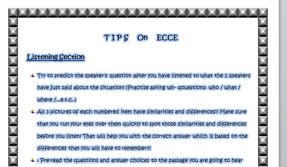 Tips on ECCE Exams