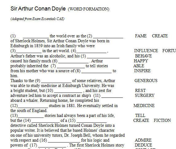 Sir Arthur Conan Doyle Word Formation