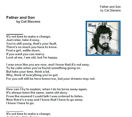 Song Worksheet Father And Son By Cat Stevens