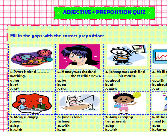 Preposition In Learn In Marathi All Complate: Adjective + Preposition Quiz
