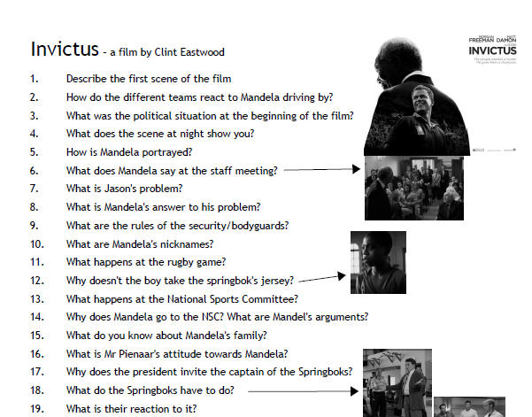 questions and information with regards to invictus motion picture essay