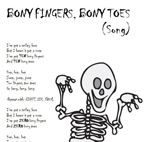Song Worksheet:- Bony Fingers, Bony Toes