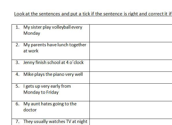 Present Simple Error Correction Worksheet