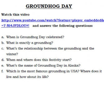 Groundhog Day Video Worksheet