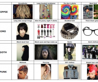 Subcultures (Emos, Goths, Hippies, Punks)