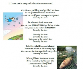 Song Worksheet & Household Waste Management Lesson Plan: Down By The River