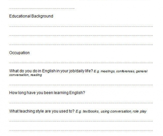 Needs Analysis Form For New Private Students
