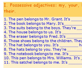 Possessive Adjectives and Opposites: Elementary Level