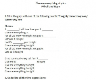 Song Worksheet: Give Me Everything by Neyo, Pitbull, Usher
