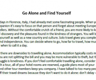 Travelling Solo: Reading LP with Speaking Component