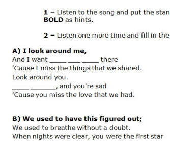 Song Worksheet: Used To by Daughtry